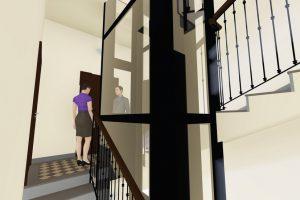 scale e vano ascensore vetro