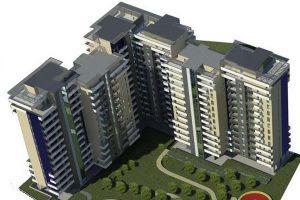 centro residenziale vista aerea rendering